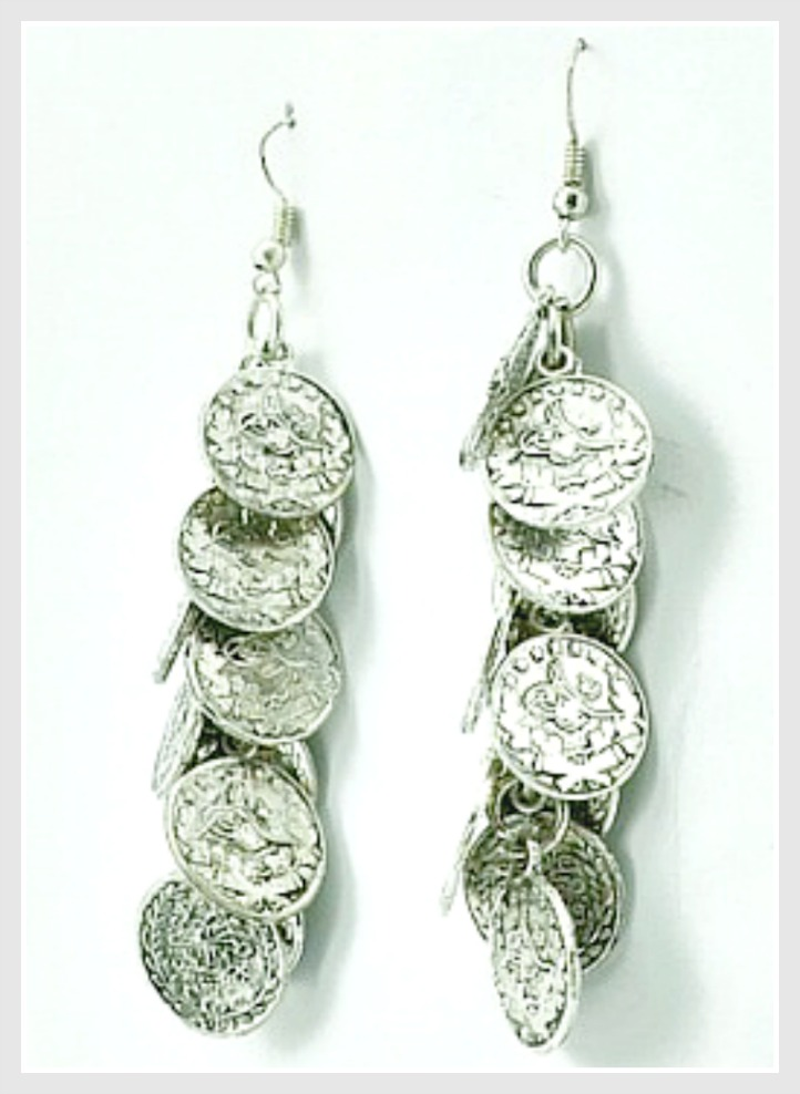 COWGIRL GYPSY EARRINGS Silver Coin Boho Gypsy Dangle Earrings