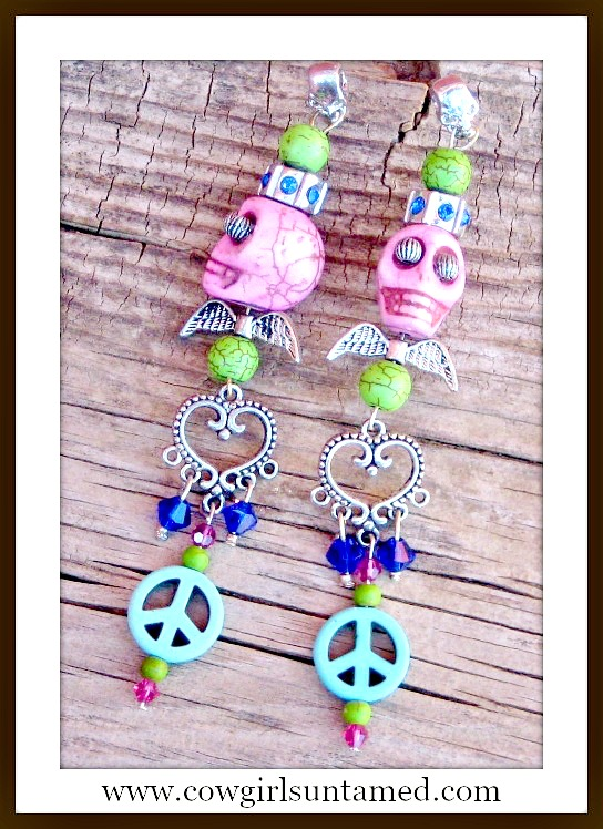 COWGIRL GYPSY EARRINGS Pink Turquoise Skull Silver Angel Wings Charms Long Western Earrings