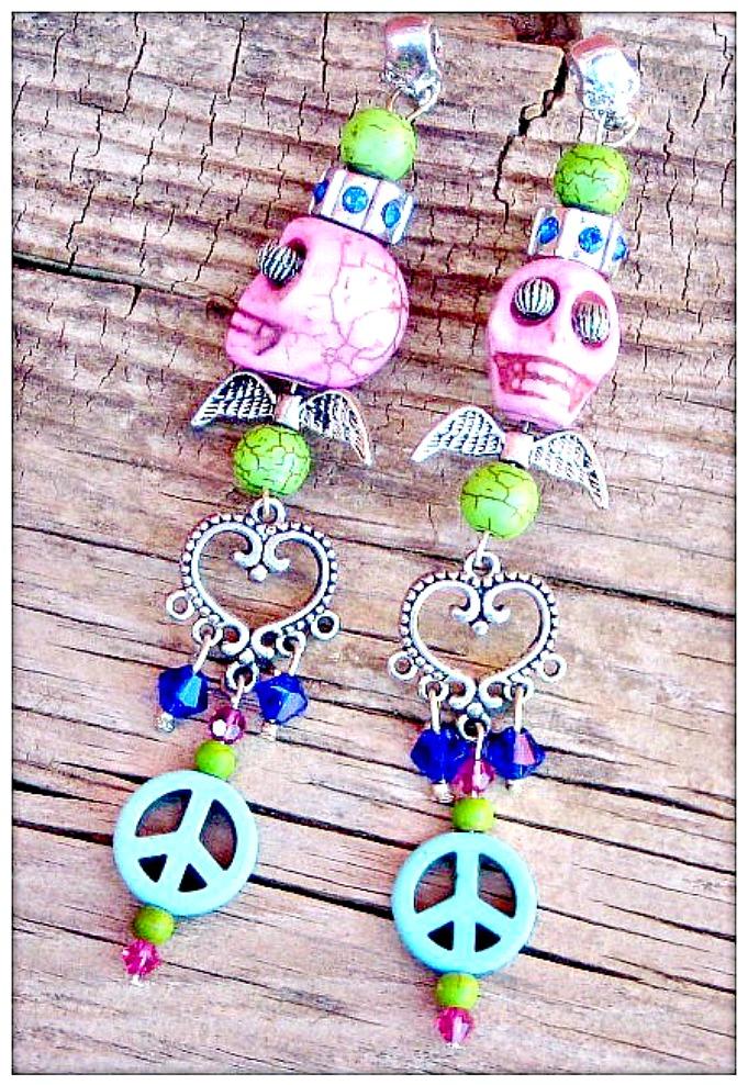 COWGIRL GYPSY EARRINGS Custom Pink Turquoise Skull Silver Angel Wings Charms Long Western Earrings