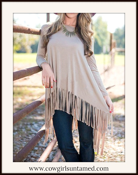COWGIRL GYPSY TOP Long Sleeve Fringe Khaki Loose Fit Top