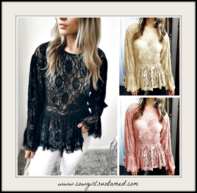 VINTAGE BOHEMIAN TOP Lace Long Sleeve High Neck Peplum Sheer Lace Top  3 Colors!