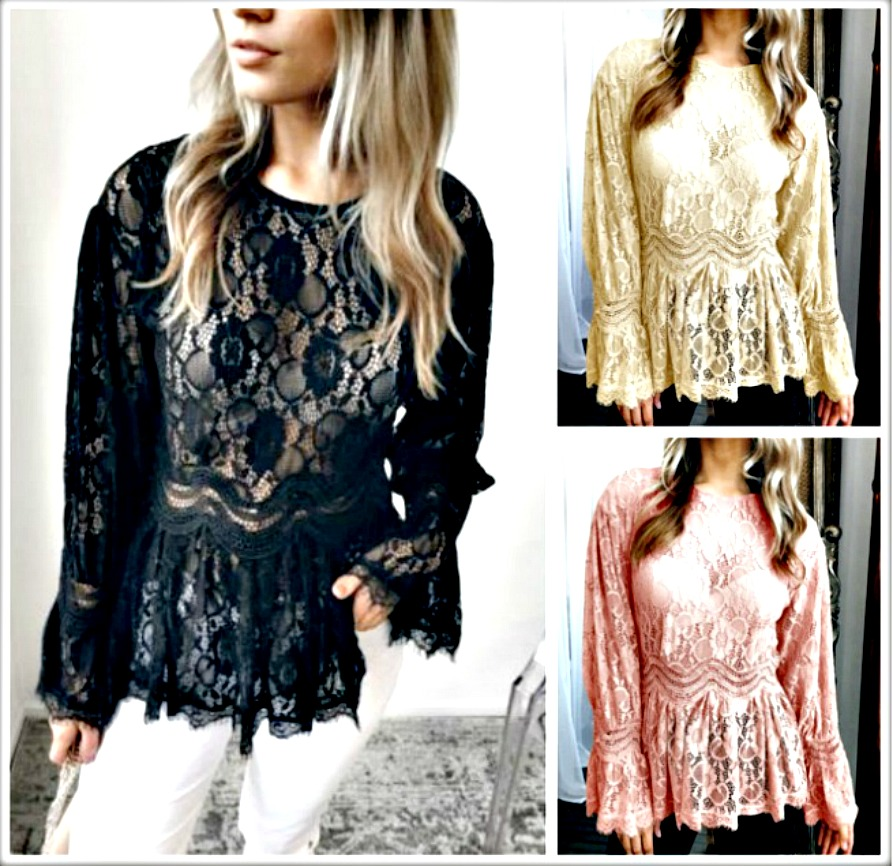 VINTAGE BOHEMIAN TOP Lace Long Sleeve High Neck Peplum Sheer Lace Top  3 Colors!