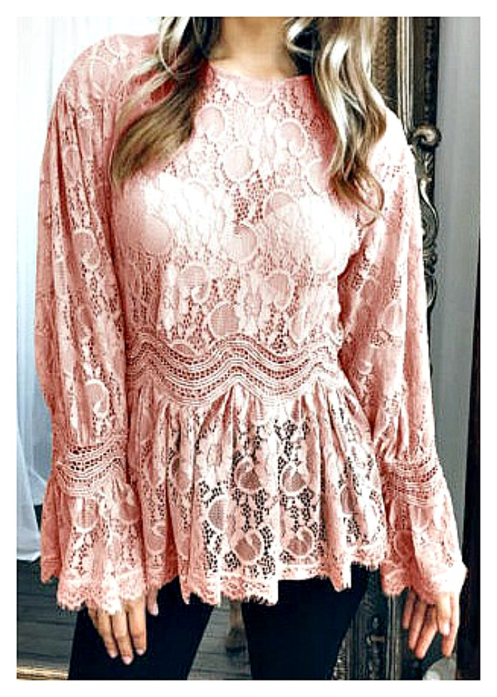 VINTAGE BOHEMIAN TOP Pink Lace Long Sleeve High Neck Peplum Sheer Lace Top  LAST ONE XL