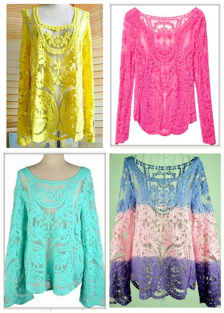 COWGIRL GYPSY TOP Floral Crochet Lace Long Sleeve Boho Top S/M-3X 4 COLORS