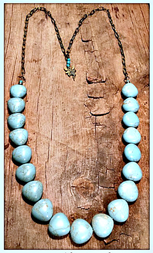 SOUTHERN BELLE NECKLACE Rhinestone Turquoise Beaded Antique Bronze Chain & Fairy Charm Necklace