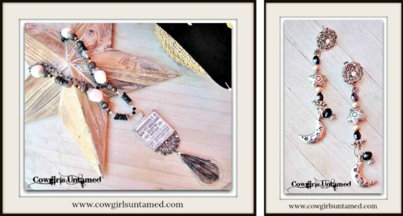 COWGIRL JUNK GYPSY NECKLACE SET Pinup Pendant with Beaded Long Chunky Western Necklace & Earrings