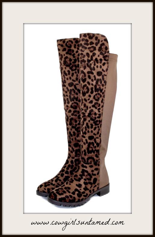 ON THE PROWL BOOTS Over Knee Zipper Women's Low Heel Suede Brown Leopard Boots
