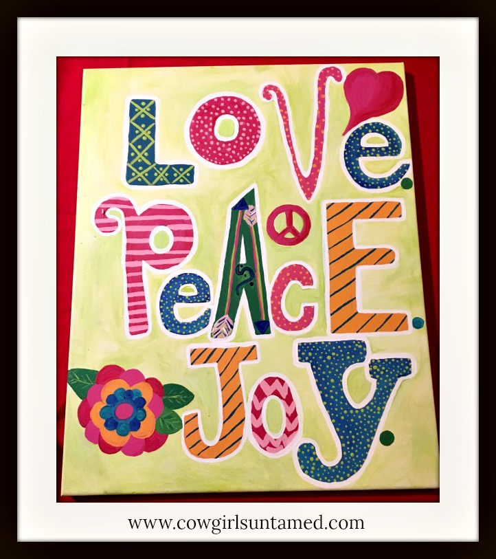 "BOHEMIAN COWGIRL PAINTING ""Love Peace Joy"" Mixed Pattern Quote Canvas Wall Art"