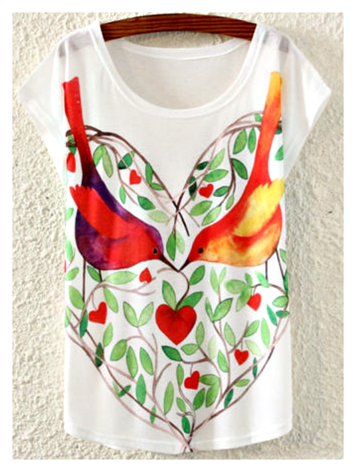 LOVE BIRDS TEE Multi Color Love Birds in Heart Cap Sleeve White T-Shirt
