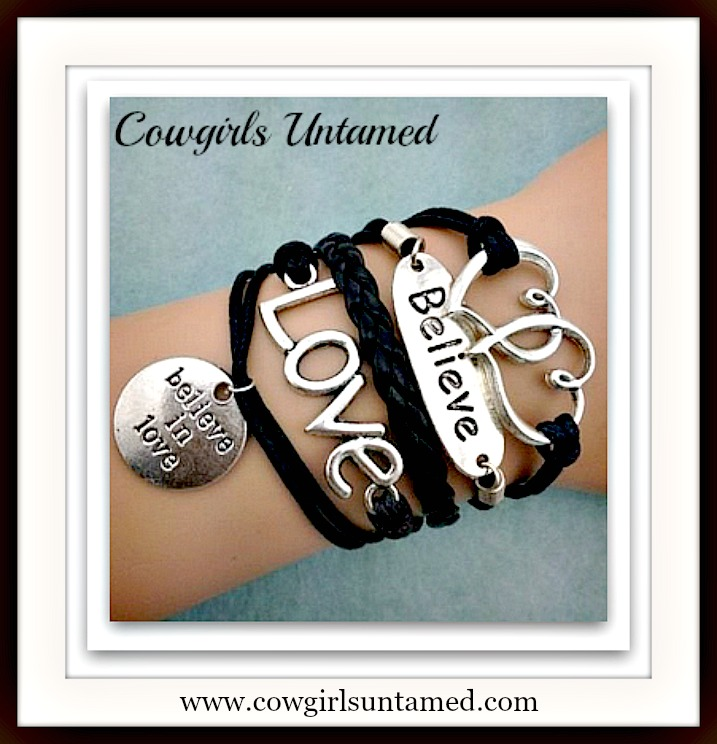 "COWGIRLS ROCK CHARM BRACELET Silver Heart, ""Love"", ""Believe"" ""Believe in Love"" Charms Leather Bracelet"