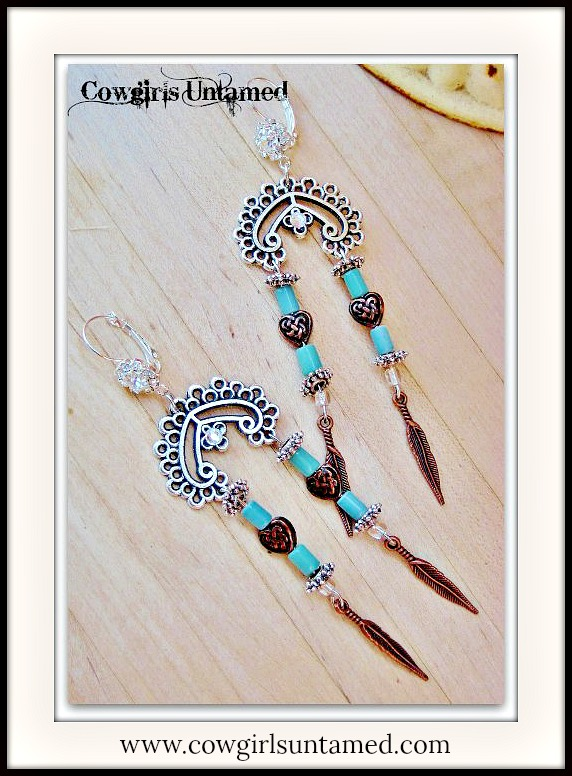 COWGIRL STYLE EARRINGS Copper Feather Charm on Antique Silver Chandelier Earrings