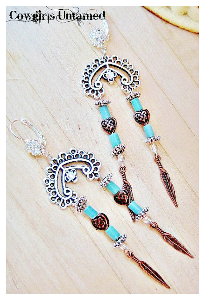 BOHEMIAN COWGIRL EARRINGS Copper Feather Charm on Antique Silver Chandelier Earrings