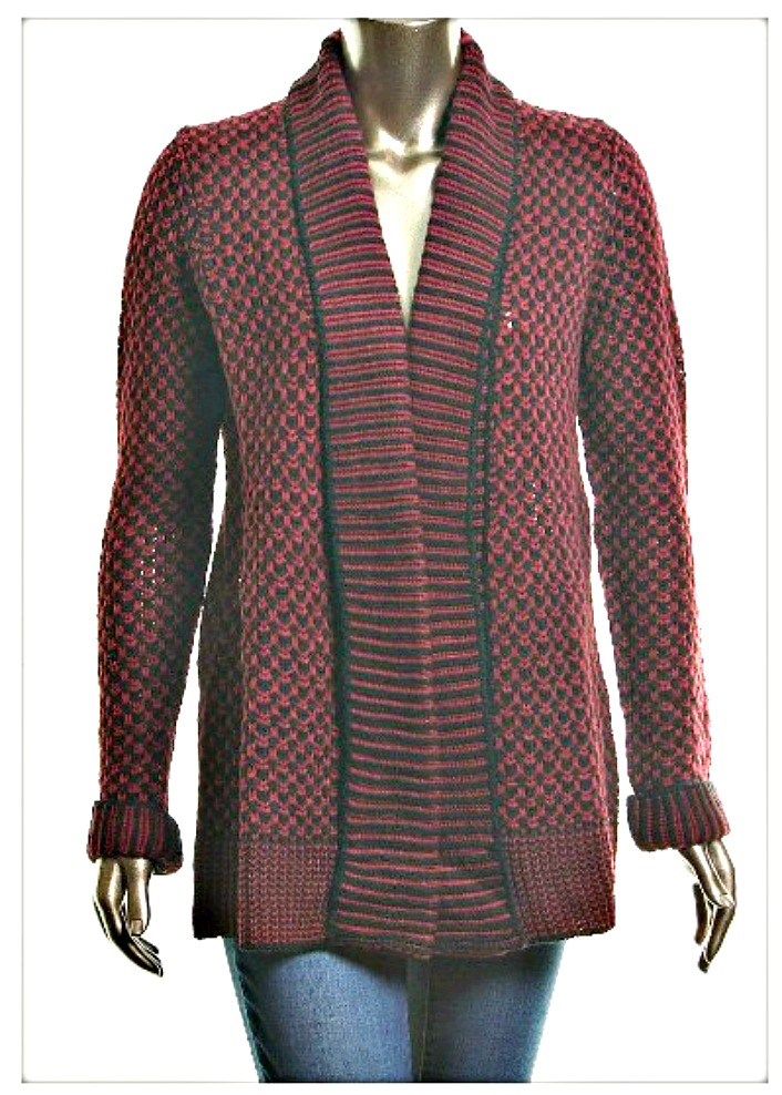 DESIGNER SWEATER Burgundy and Black Knit Open Cardigan Designer Sweater