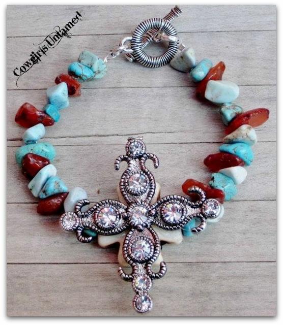 CHRISTIAN COWGIRL BRACELET Antique Silver Rhinestone Cross Western Bracelet