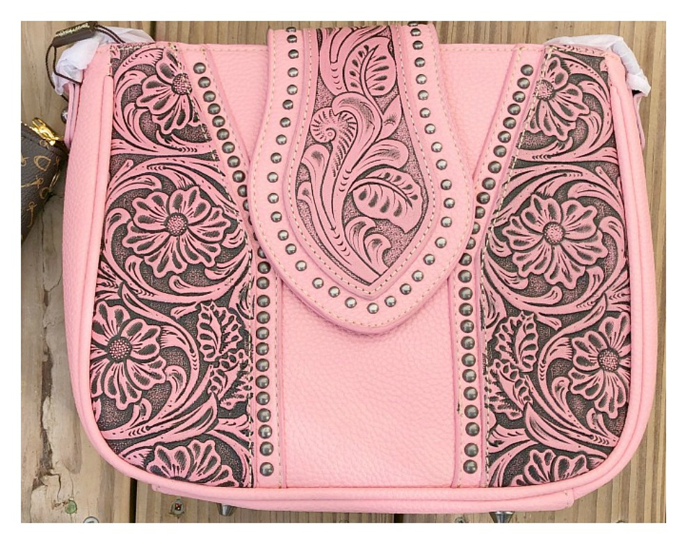 COWGIRLS in SPRING Pink Floral Tooled Leather Cross Body Purse