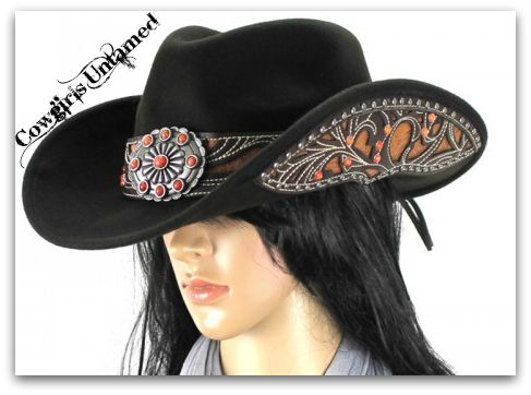 COWGIRL STYLE HAT Brown Turquoise Concho Leather Hatband Studded Brown Felt Western Hat