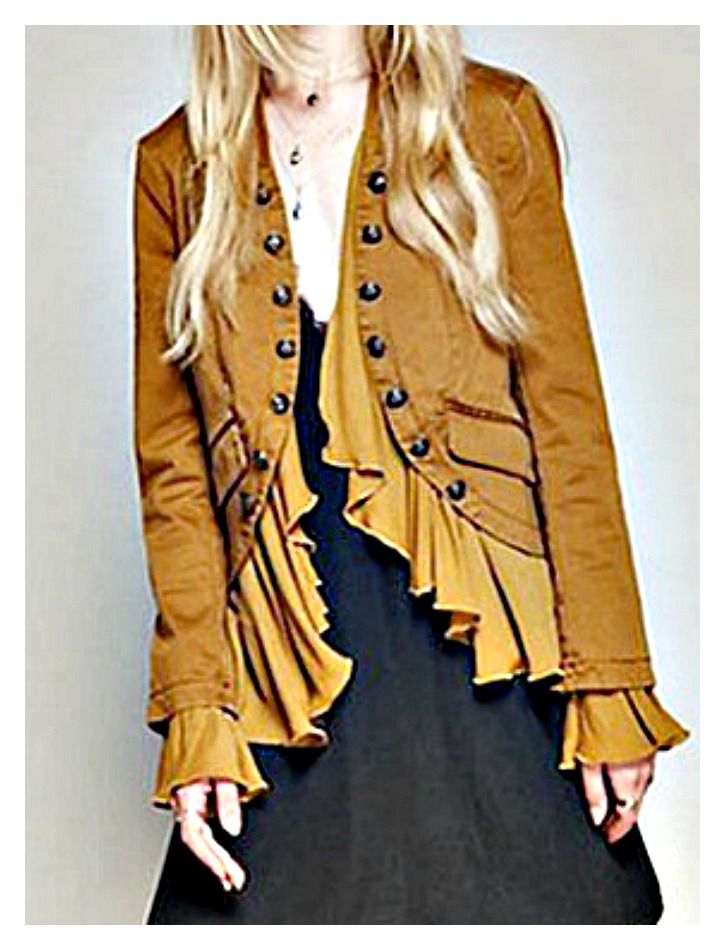 COWGIRL GYPSY JACKET Antique Bronze Button Accent Ruffle Ochre Brown Boho Coat LAST ONE!