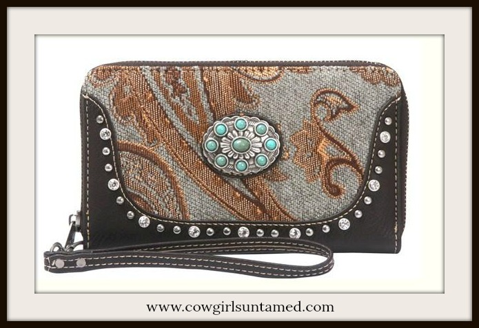 BOHEMIAN COWGIRL WALLET Beautiful Paisley Silver Turquoise Concho  Boho Wallet / Wristlet