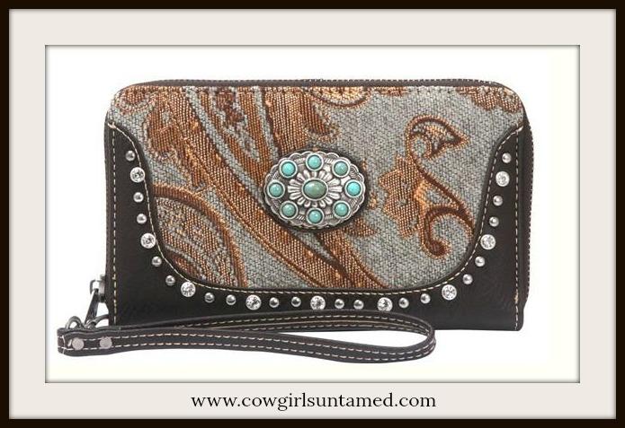BOHEMIAN COWGIRL WALLET Beautiful Paisley Silver Turquoise Concho  Boho Wallet / Wristlet