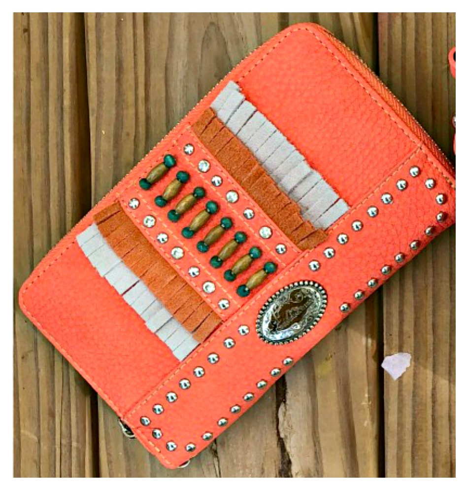 BOHO CHIC WALLET Silver Studded Fringe Indian Beaded Zip Top Coral Leather Wallet/Wristlet