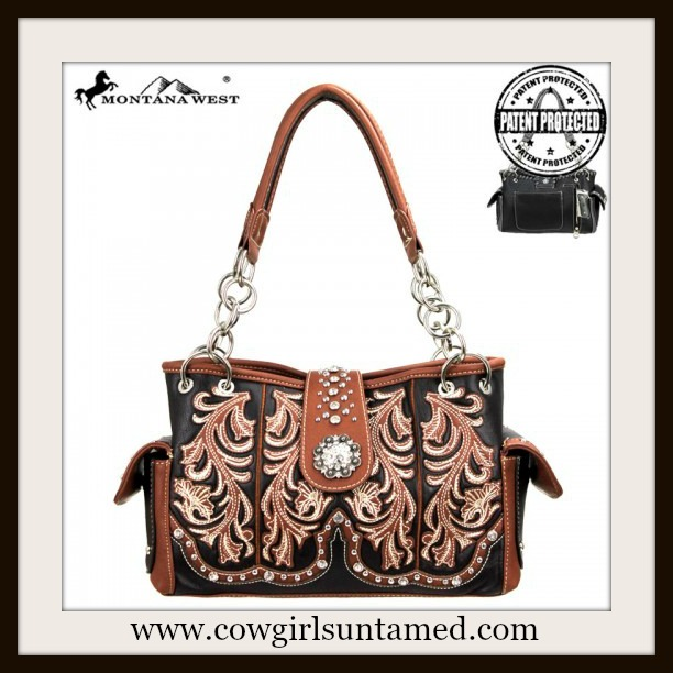WESTERN COWGIRL HANDBAG Silver Concho Closure Brown Leather Concealed Weapon Handbag