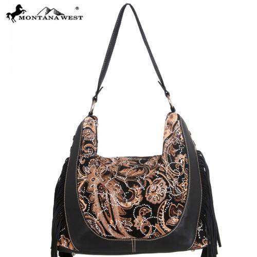 BOHEMIAN COWGIRL HANDBAG Brown Tan Paisley Crystal Tapestry Black Leather Fringe Western Hobo Handbag