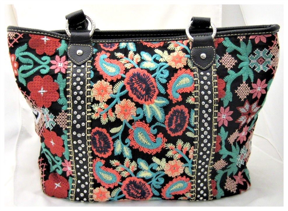 BOHO CHIC TOTE Multi Color Floral Embroidered Silver Studded Black Leather Tote