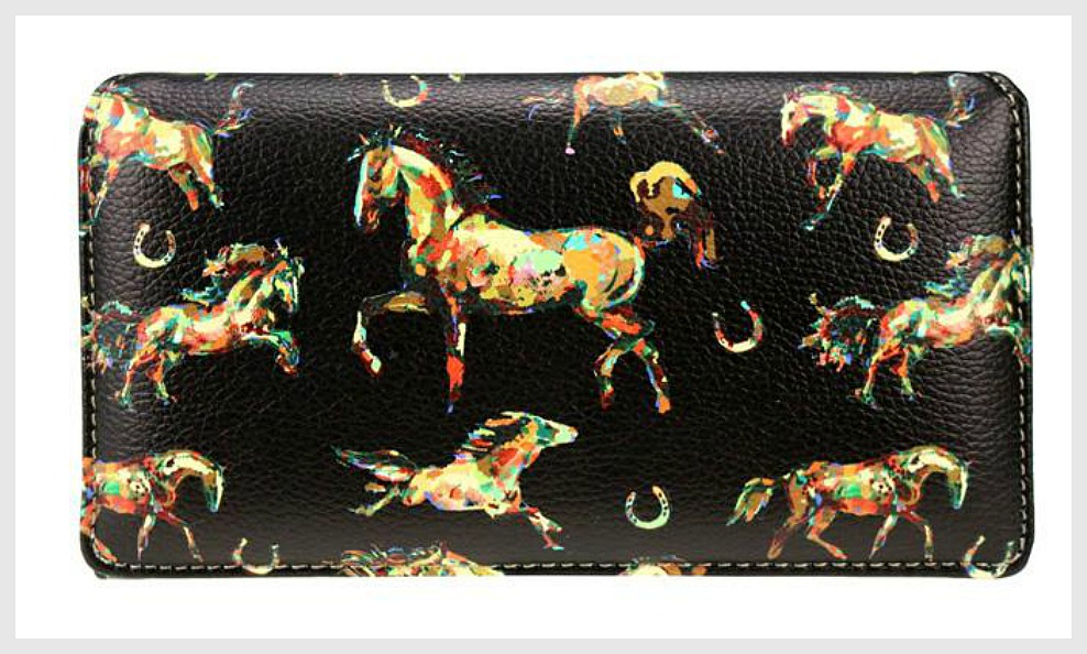 HORSE ADDICT WALLET Multi Color Horse & Horseshoe Black Leather Western Wallet