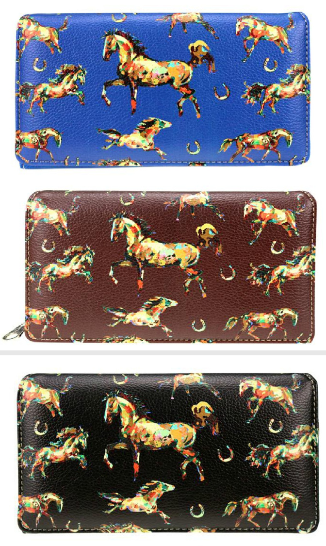 HORSE ADDICT WALLET Multi Color Horse & Horseshoe Black Leather Western Wallet LAST ONE BLUE