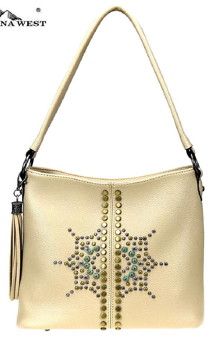 MONTANA WEST PURSE Patina & Silver Studded Sunburst Tan Western Hobo Bag