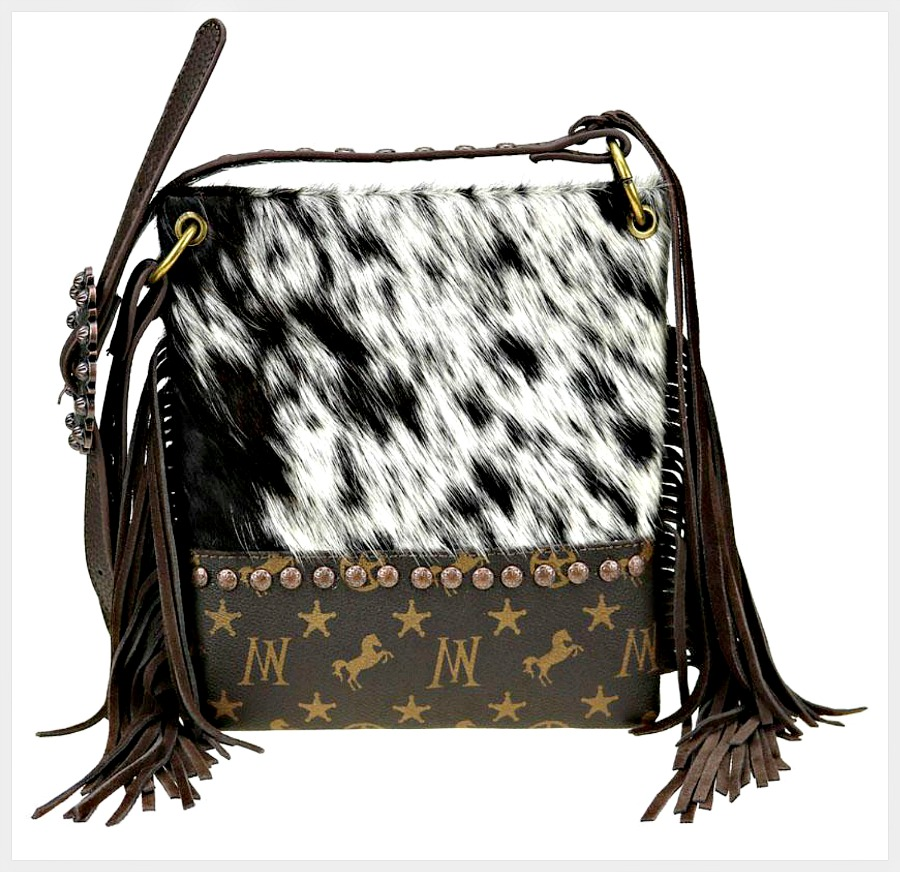 COWGIRL CHIC PURSE Montana West Signature Monogram Hair-On Cowhide Collection Crossbody Bag
