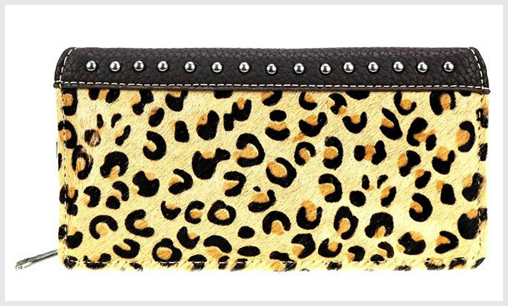 COWGIRL CHIC WALLET Montana West Brown Leather Leopard Cowhide Studded Secretary Style Wallet