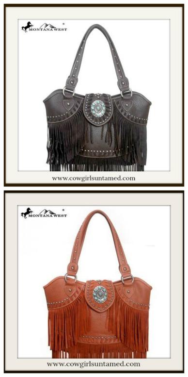 3bffd296c2 Turquoise Concho Fringe Silver Studded Leather Handbag