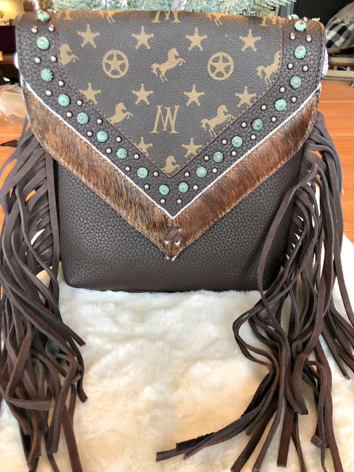 COWGIRL CHIC CROSSBODY PURSE Montana West Signature Monogram Collection Brown Leather HAIR ON HIDE Studded Fringe Crossbody Bag