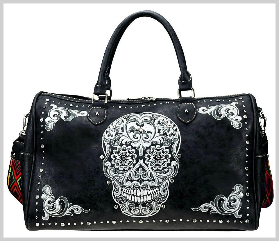 MONTANA WEST SUGAR SKULL DUFFEL BAG White & Grey Embroidered Sugar Skull  Crystal Studded Black Duffel Bag