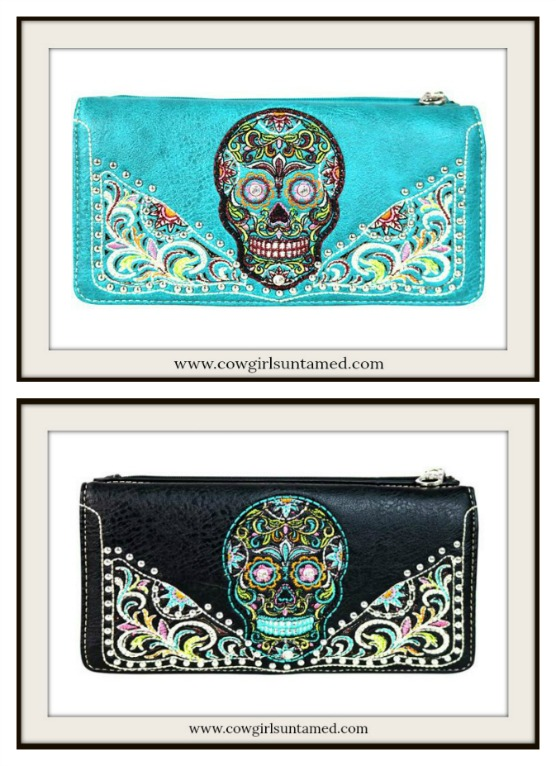 COWGIRLS ROCK WALLET Embroidered Sugar Skull Designer Leather Wallet