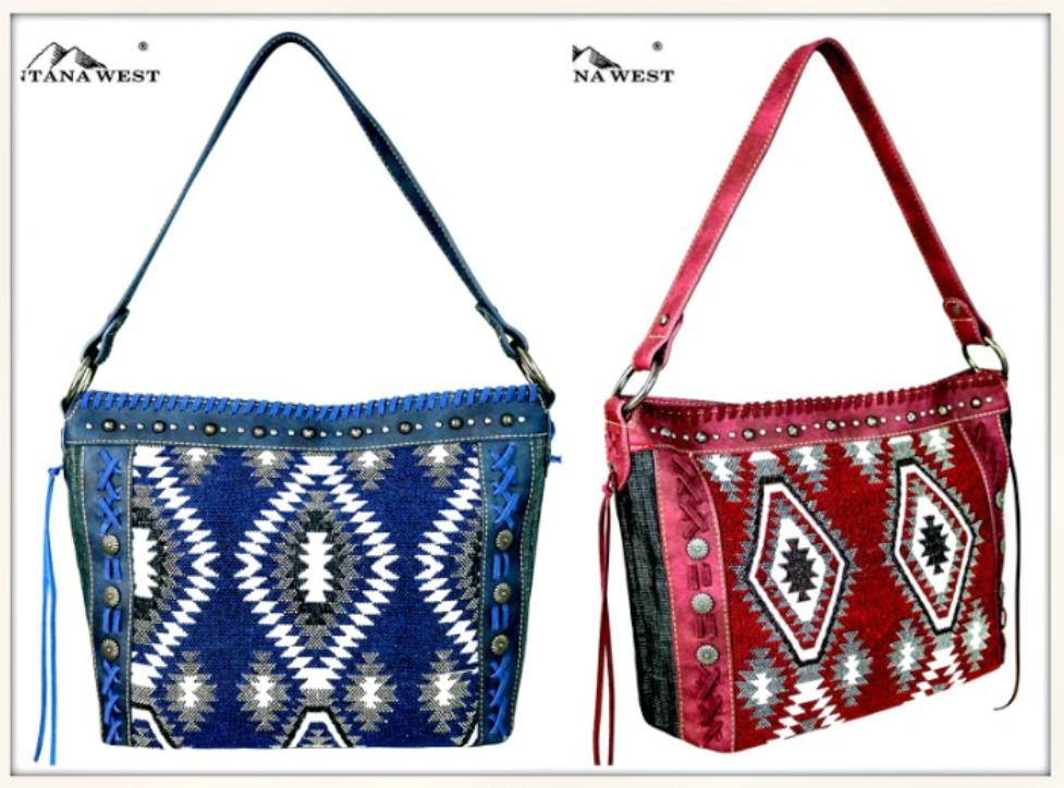 BOHEMIAN COWGIRL HANDBAG Aztec Denim Print Tassels and Antique Silver Concho Handbag