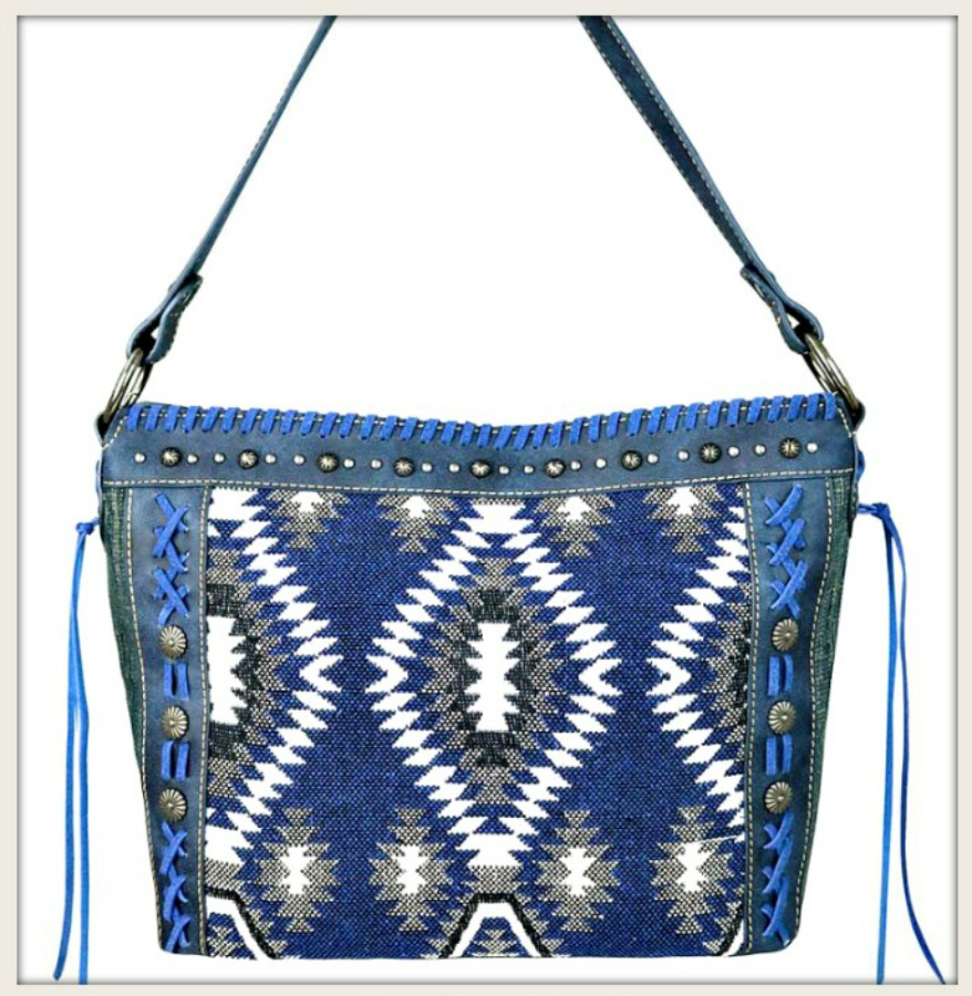 BOHEMIAN COWGIRL HANDBAG Blue Aztec Denim Print Tassels and Antique Silver Concho Handbag