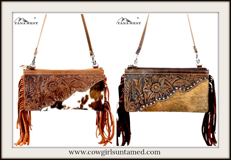 BOHEMIAN COWGIRL CLUTCH Tooled Genuine Leather Cowhide and Fringe Clutch with Strap