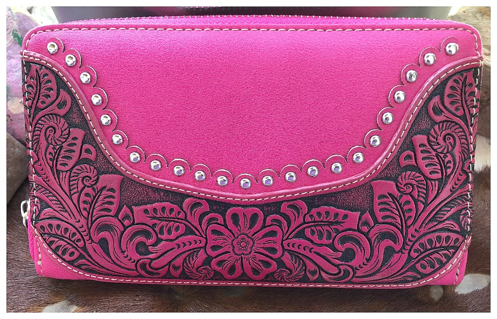 THE SARAH WALLET Silver & Rhinestone Studded Floral Hot Pink Tooled Leather Western Wallet Wristlet LAST ONE