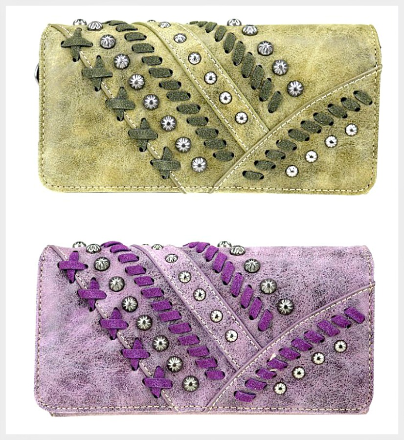 ON the FRINGE WALLET Whipstitch & Antique Silver Studded Wallet  2 COLORS!