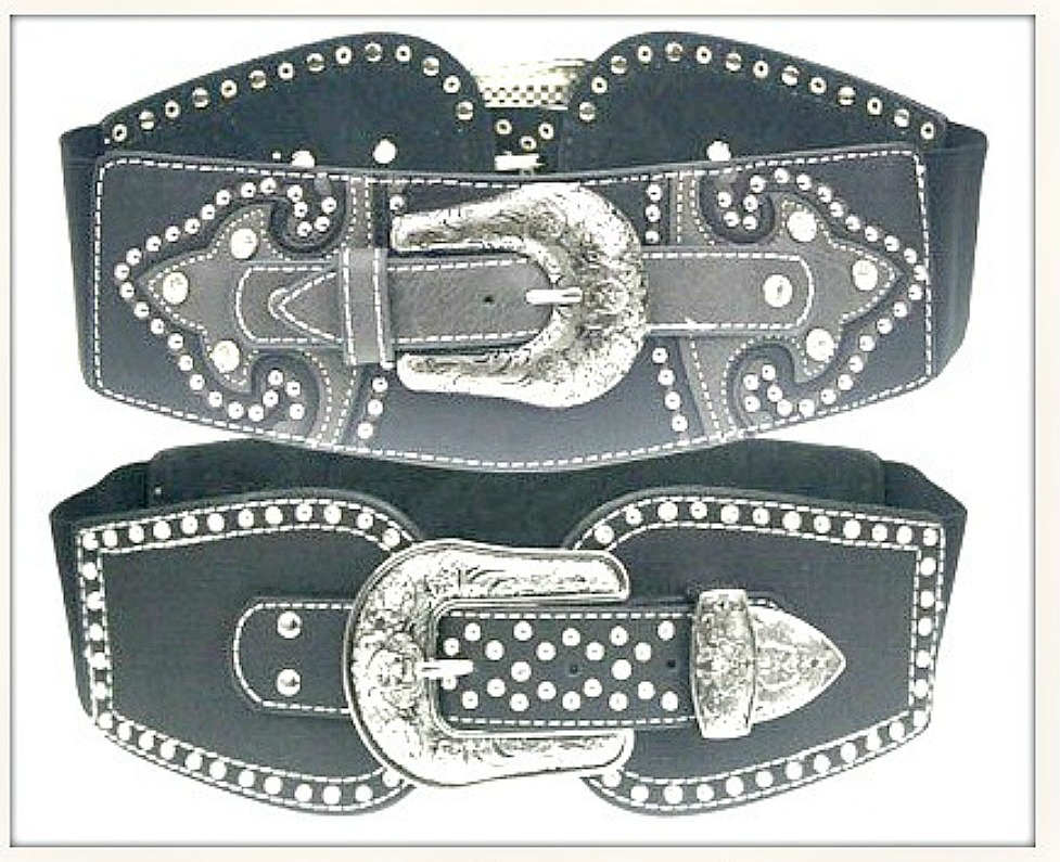 COWGIRL STYLE BELT Rhinestone Studded Silver Floral Etched Stretchy Black Wide Belt
