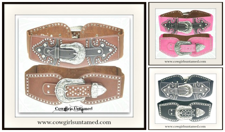 COWGIRL STYLE BELT Rhinestone Studded Silver Floral Etched Stretchy Wide Belt