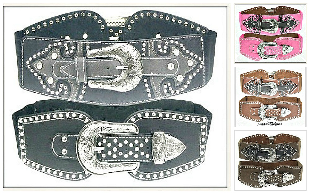 COWGIRL STYLE BELT Rhinestone Studded Silver Floral Etched Stretchy Wide Belt ONLY a FEW LEFT!