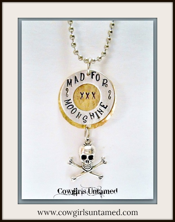 "RODEO REBEL NECKLACE ""Mad for Moonshine"" Pendant with Skull n Crossbones Silver Ball Chain Western Necklace ARTISAN MADE"