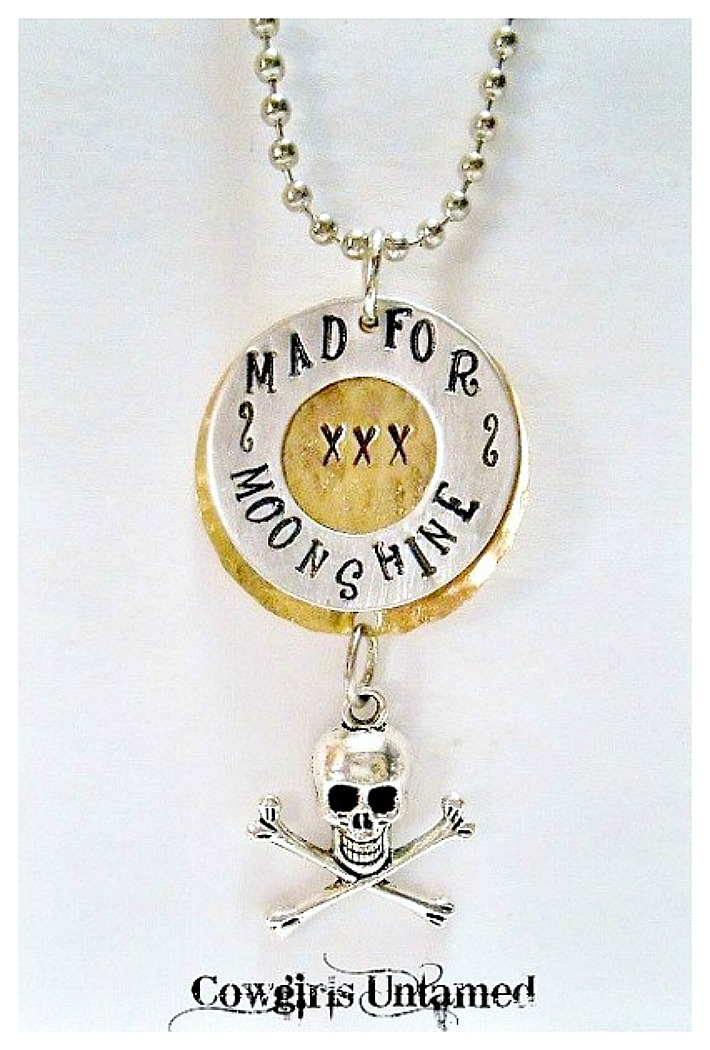"""RODEO REBEL NECKLACE """"Mad for Moonshine"""" Pendant with Skull n Crossbones Silver Ball Chain Western Necklace ARTISAN MADE"""
