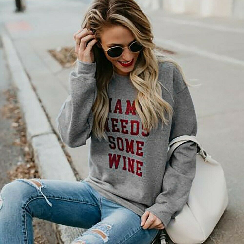 "OH MAMA SWEATSHIRT ""Mama Needs Some Wine"" Grey Longs Sleeve Sassy Sweatshirt LAST ONE - L!"