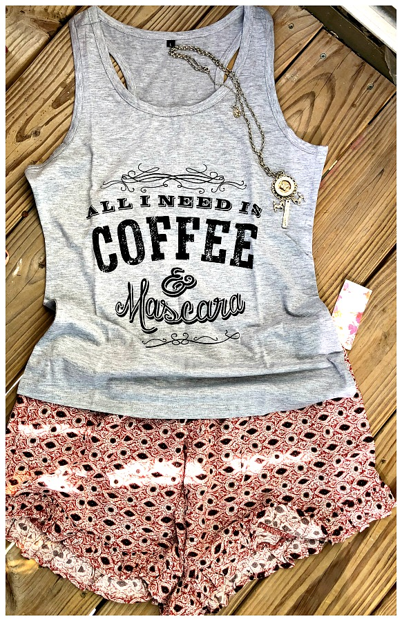 "LAVONNE & VIOLET TANK TOP SHORTS SET ""All I Need is Coffee & Mascara"" Grey Tank Top & Geo Ruffle Shorts"