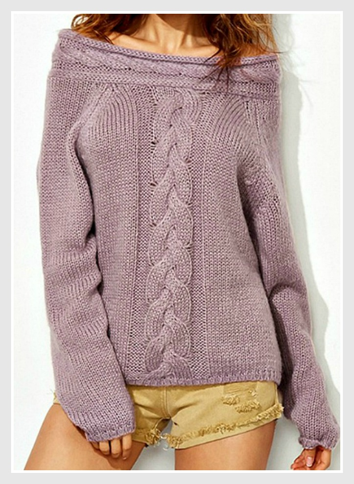 SOUTHERN BELLE SWEATER Soft Lavender Cable Knit Collar Long Sleeve Sweater