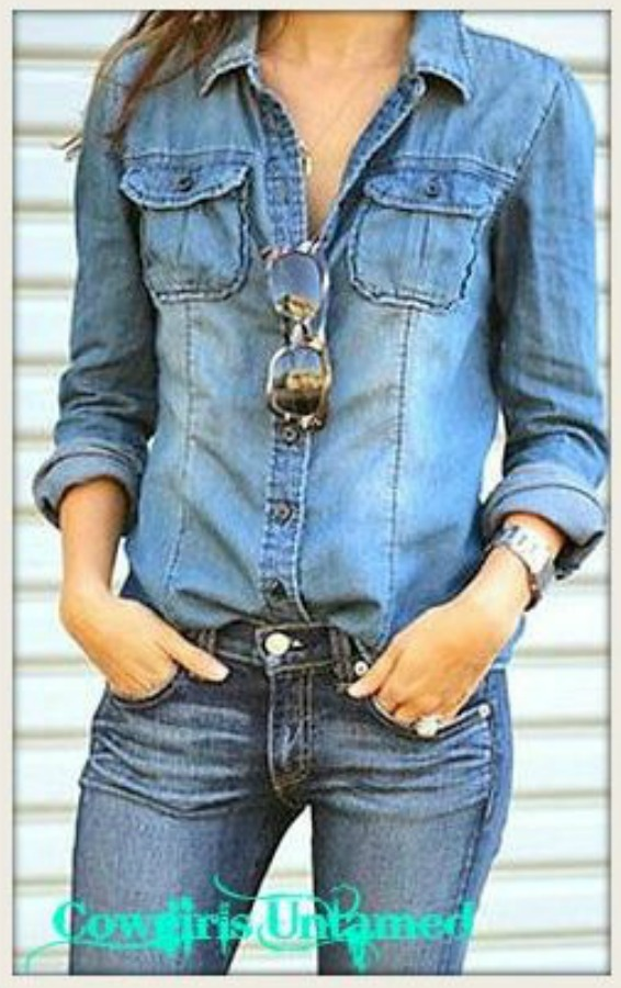 WILDFLOWER SHIRT Retro Button Front Blue Jean Shirt